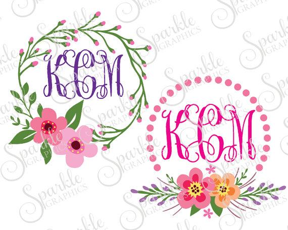 A floral monogram clipart banner Floral Monogram Frame Set Cut File Flower Monogram Frame Flourish ... banner