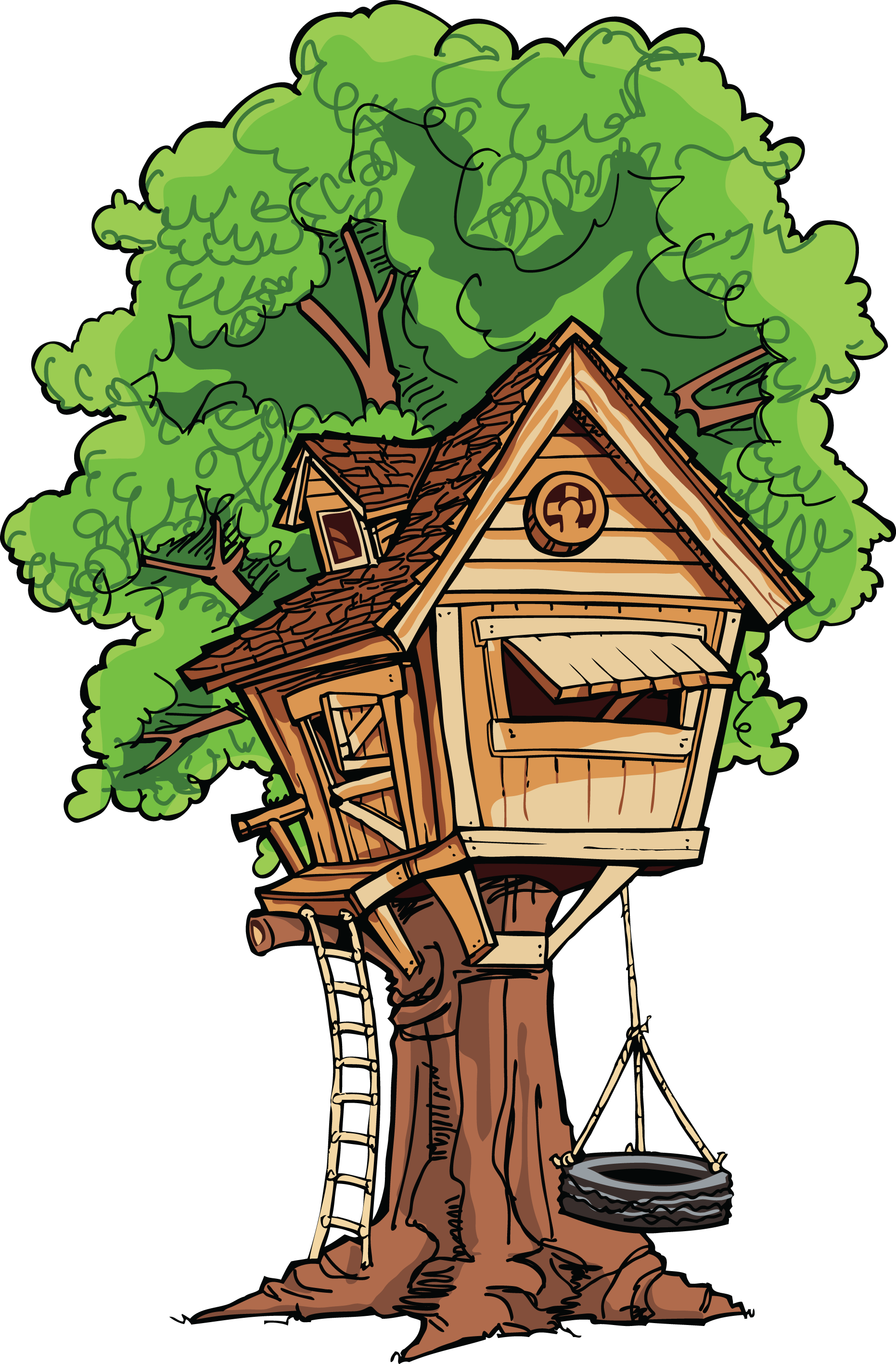 Tree swing clipart image black and white Tree House Clip Art | When you go into the creative world you have ... image black and white