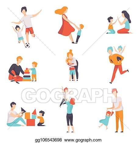 A fun dad clipart picture royalty free library Vector Stock - Parents and their kids having good time together set ... picture royalty free library