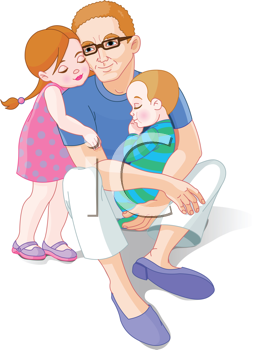 I love my dad clipart clip Royalty Free Clipart Image of a Father With His Children | Love my ... clip