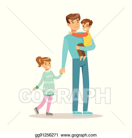 A fun dad clipart picture black and white library Vector Art - Dad with son and daughter, loving father enjoying good ... picture black and white library