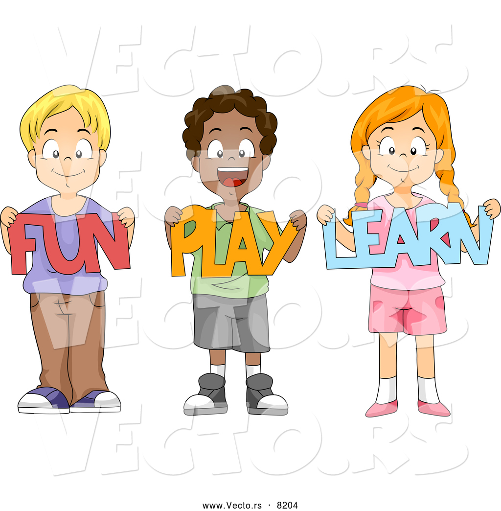 A fun place to play and learn clipart png black and white Vector of Diverse Cartoon School Children Holding \