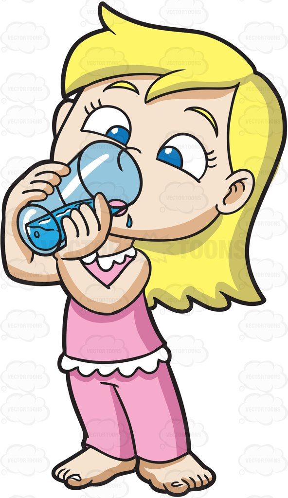 Water clipart girl vector transparent library A young girl drinks water after waking up #cartoon #clipart #vector ... vector transparent library