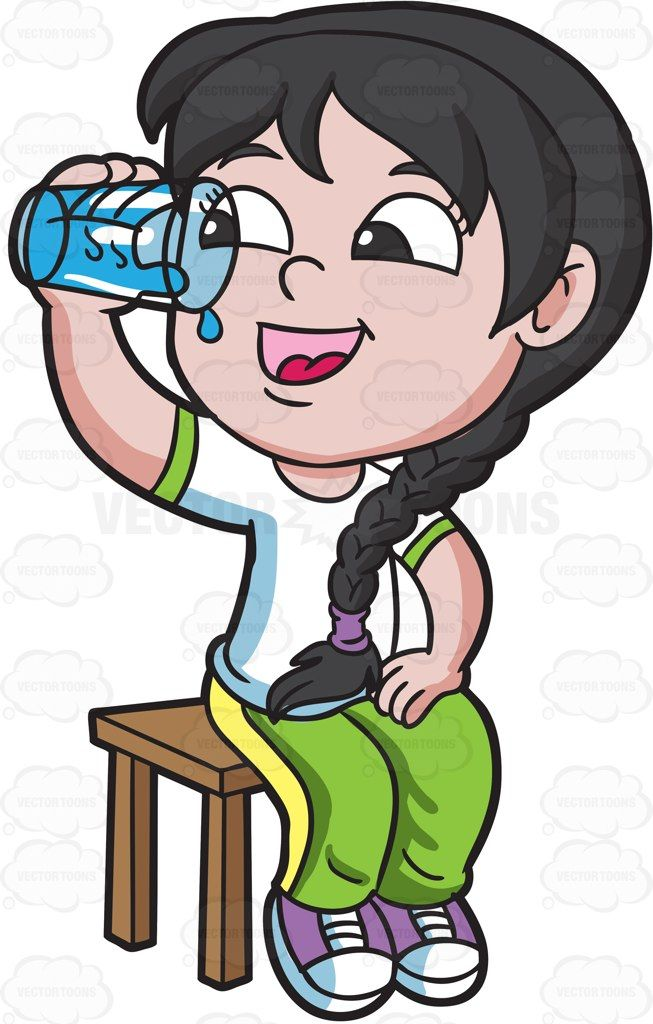 Water clipart girl jpg royalty free stock A happy girl drinks water after her PE class #cartoon #clipart ... jpg royalty free stock
