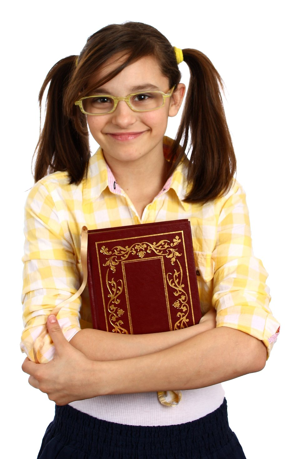 A girl holding a book. Clipartfest smart with glasses