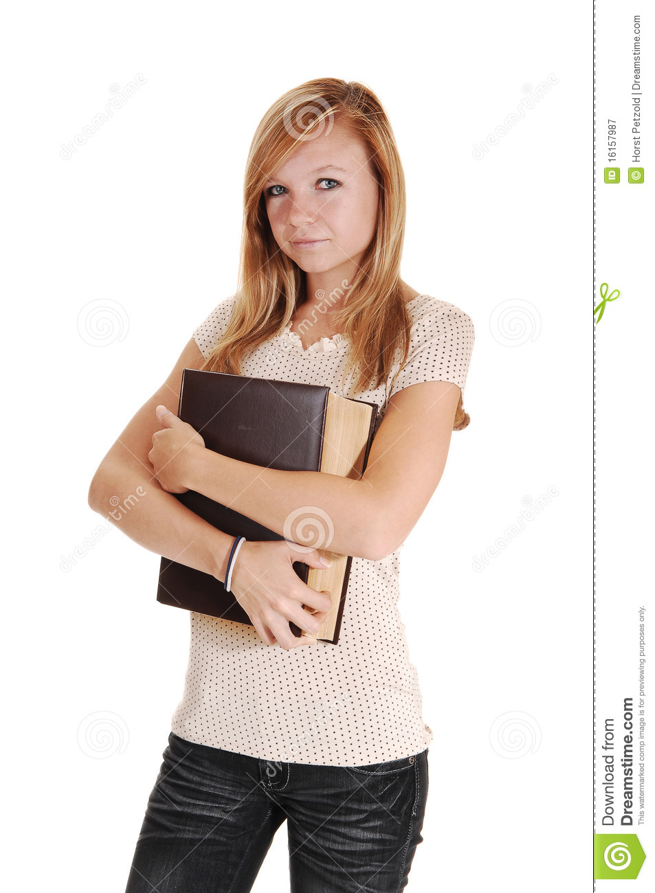 A girl holding a book. Big royalty free stock