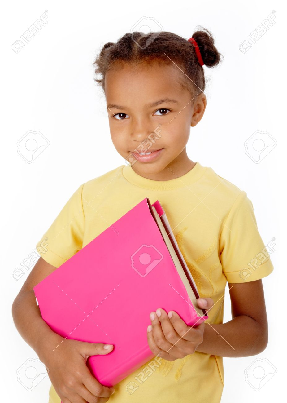 A girl holding a book png royalty free library Image Of Black Girl Holding Book And Looking At Camera Stock Photo ... png royalty free library