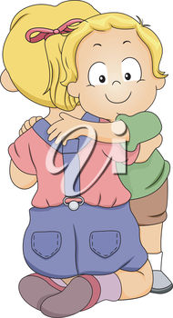Clipart Illustration of a Little Girl Hugging a Little Boy banner royalty free library