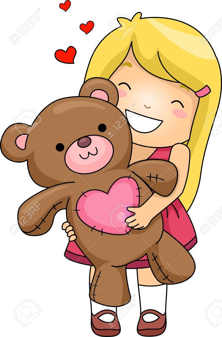 Illustration Of A Girl Hugging A Stuffed Toy Stock Photo, Picture ... png library stock