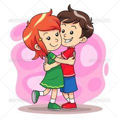 A girl hugging a girl clipart. Boy hug clipartfox steven