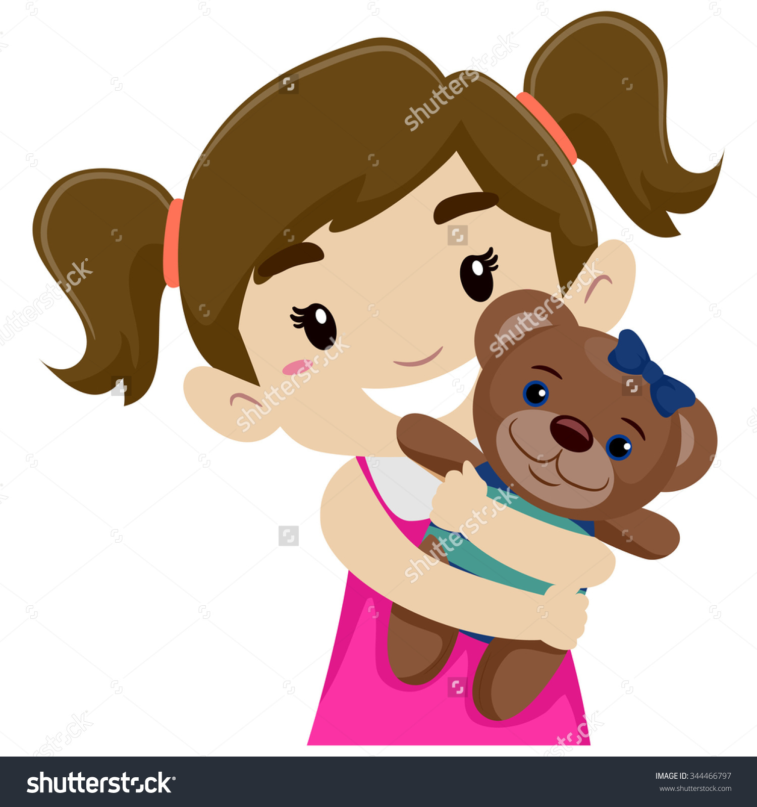 Vector Illustration Little Girl Hugging Her Stock Vector 344466797 ... png royalty free library