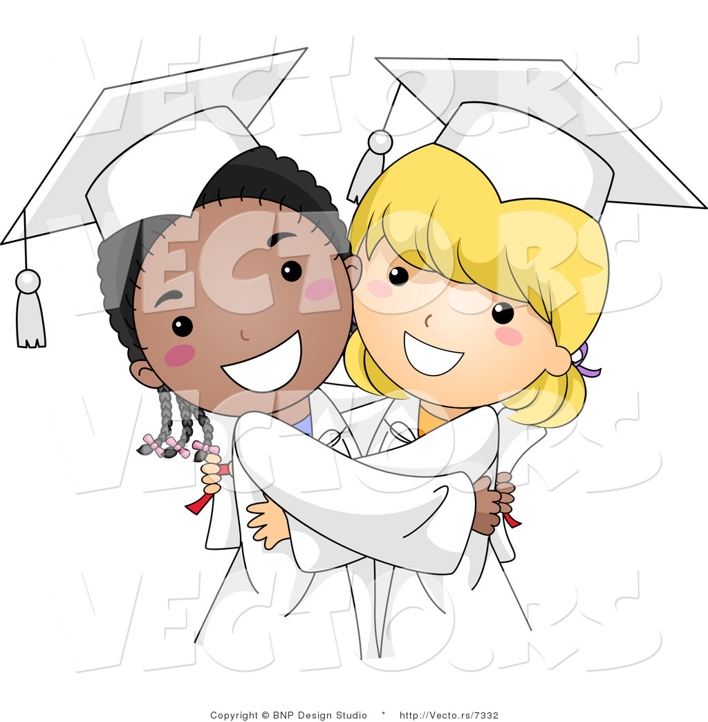 Vector Cartoon of Happy Black and White Graduate Girls Hugging by ... png freeuse