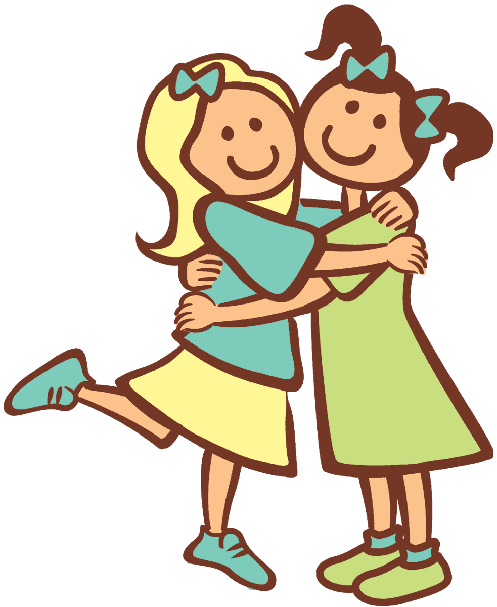 A girl hugging a girl clipart - ClipartFest graphic black and white stock