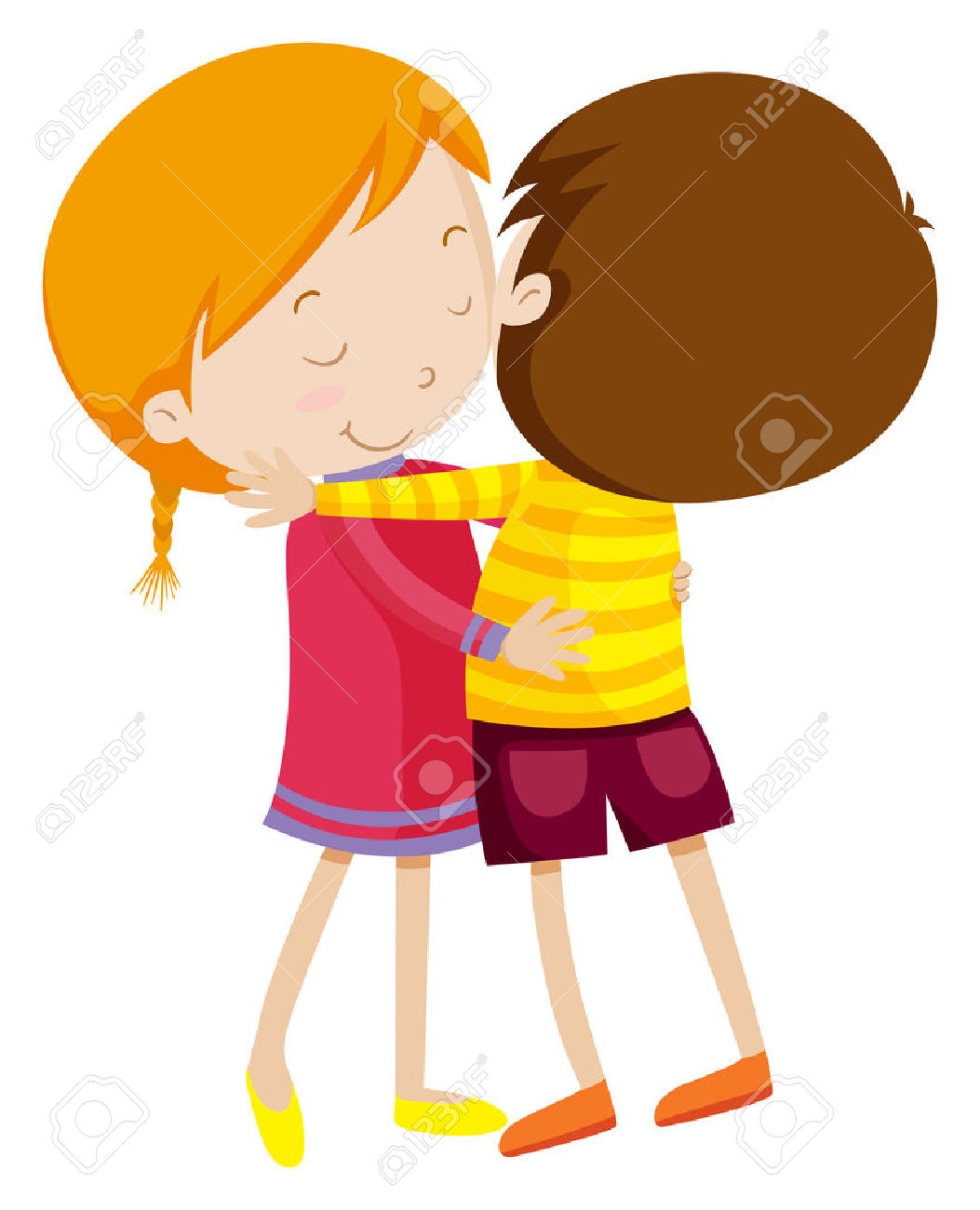 Boy And Girl Hugging Illustration Royalty Free Cliparts, Vectors ... svg black and white