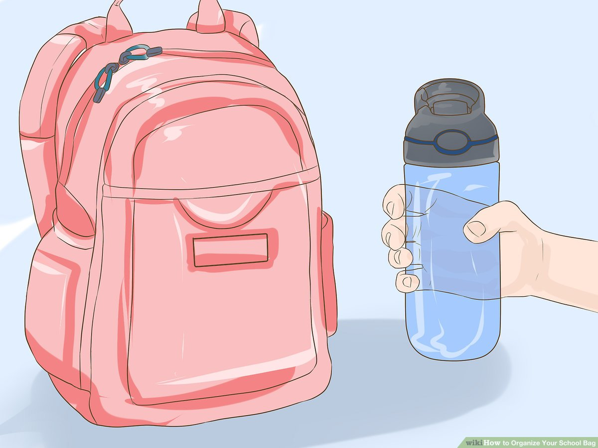 A girl kindergaten put her bookbag on her back cliparts banner black and white download How to Organize Your School Bag: 14 Steps - wikiHow banner black and white download