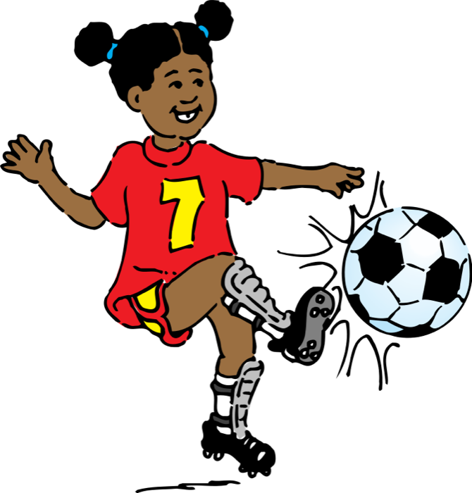 Girl playing soccer at. Football clipart with flames png