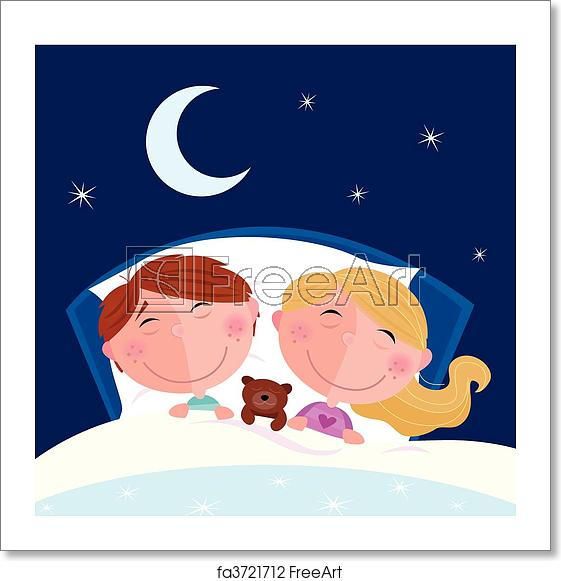 A girl sleeping clipart svg library download Free art print of Siblings - boy and girl sleeping svg library download
