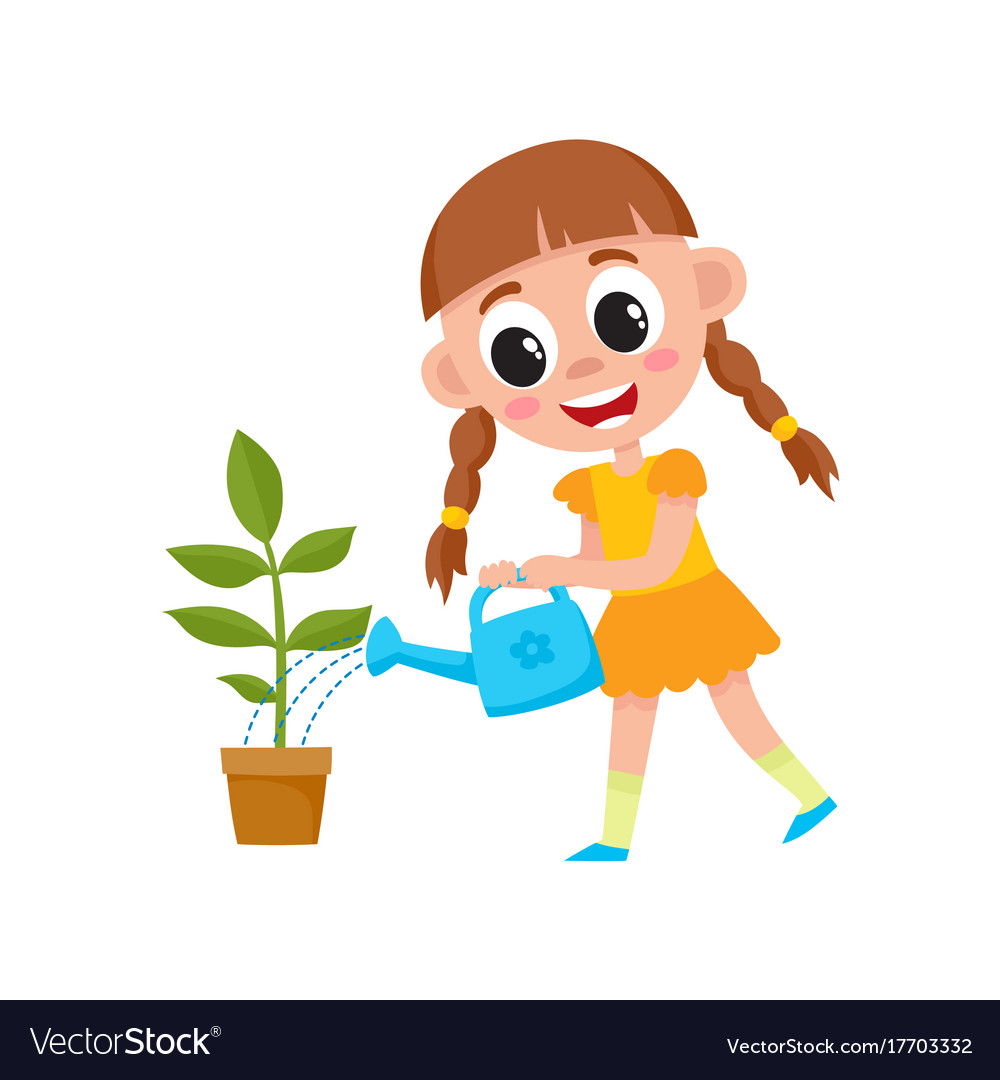 A girl watering plants clipart banner royalty free download Flat cute girl kid watering plant in pot banner royalty free download