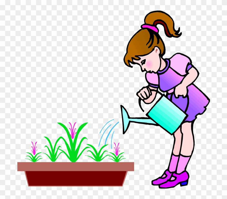 A girl watering plants clipart png stock Plants Clipart Child - Girl Watering The Flower Cartoon - Png ... png stock