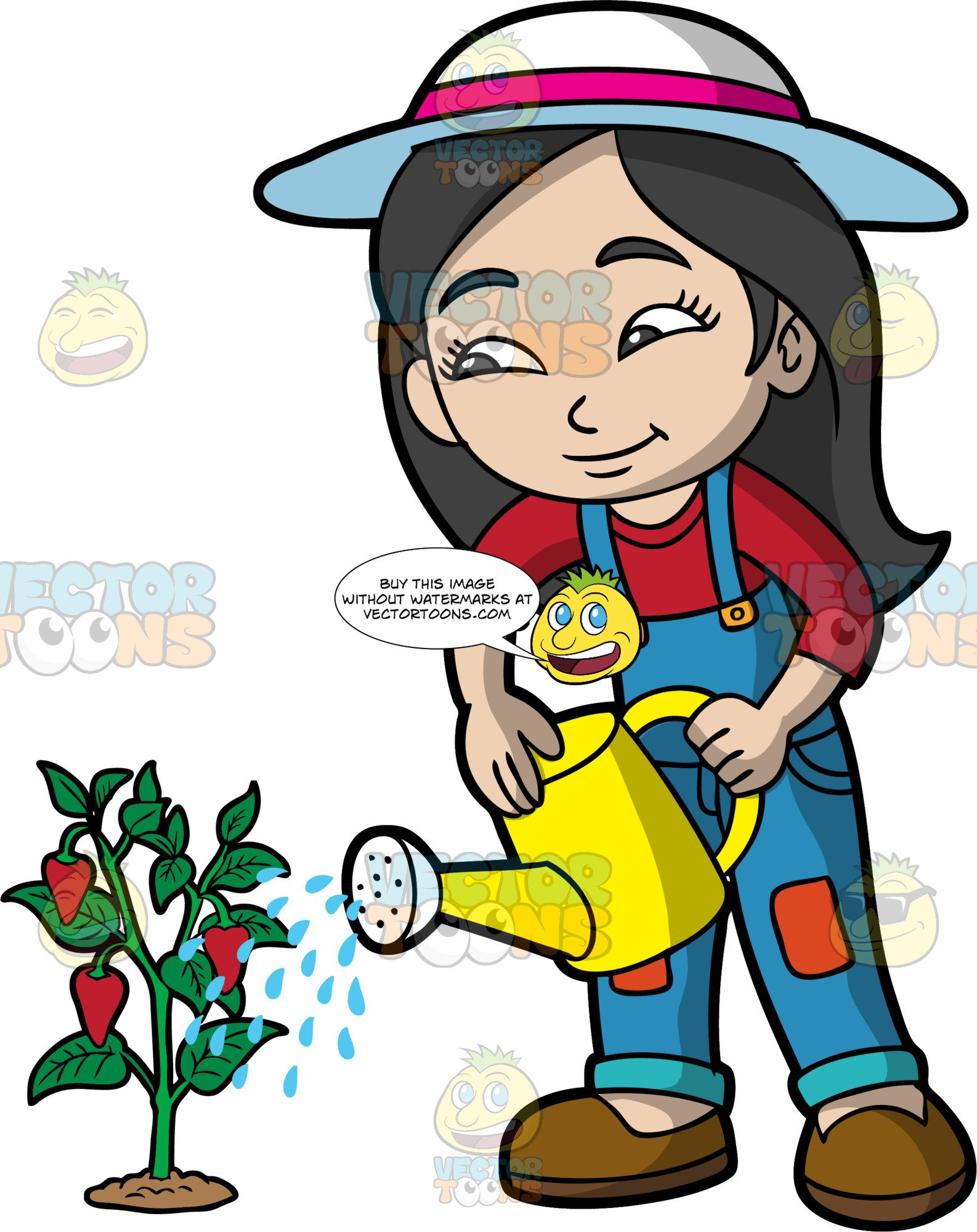 A girl watering plants clipart banner download An Asian Girl Watering A Strawberry Plant banner download