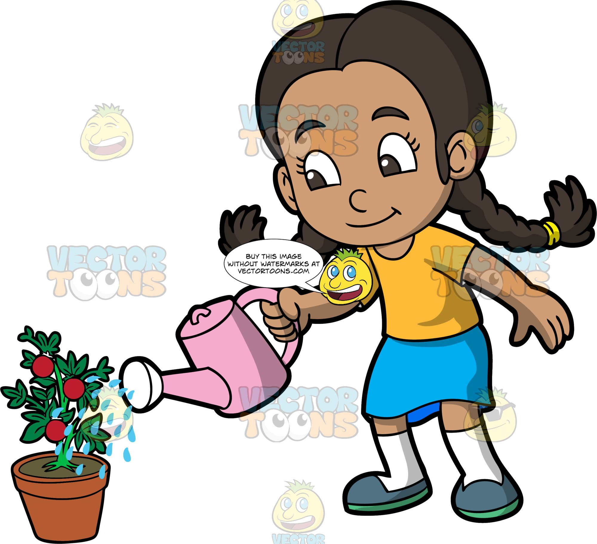Child watering plants clipart clip art freeuse library A Young Girl Watering A Tomato Plant clip art freeuse library