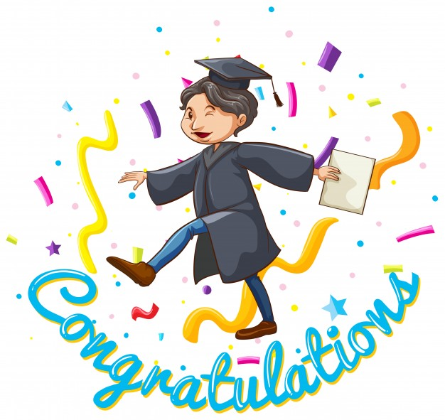 A guy with lots of degrees clipart jpg black and white download Congratulations card template with man holding degree Vector | Free ... jpg black and white download