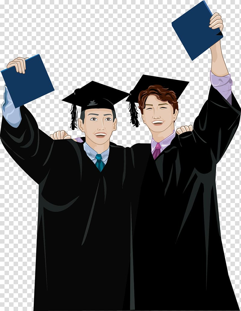 A guy with lots of degrees clipart banner freeuse library Men wearing academic dress illustration, Bachelors degree Cartoon ... banner freeuse library