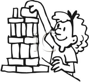 Black and white girl lego clipart svg library download Coloring Page of a Girl Playing with Building Blocks - Clipart svg library download