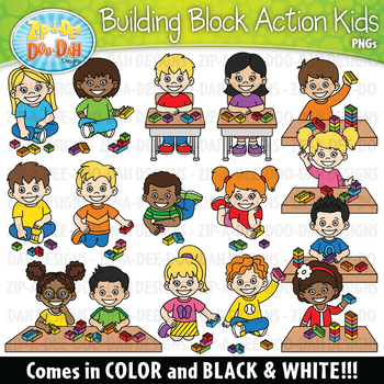 Buildings and kids clipart banner library stock Building Blocks Action Kids Clipart {Zip-A-Dee-Doo-Dah Designs} banner library stock