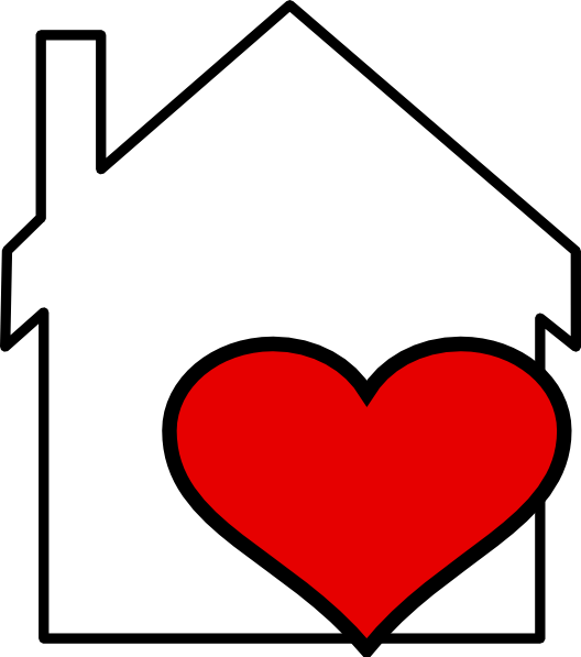 Outline heart clipart png black and white house with heart clip art | House and Heart Outline clip art ... png black and white