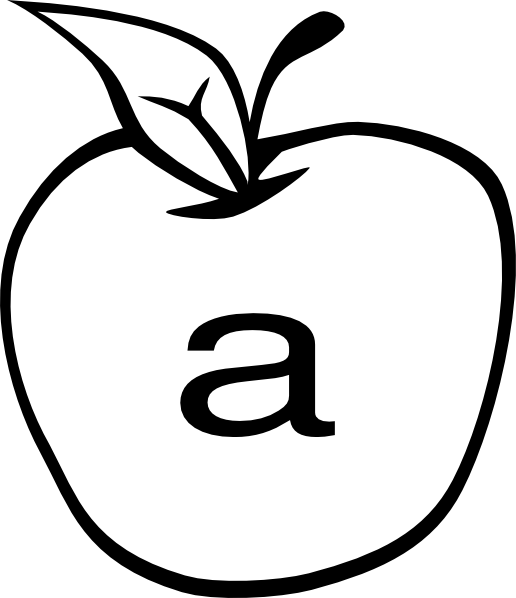 Clipart letters a is for apple black and white vector library download A In Apple Clip Art at Clker.com - vector clip art online, royalty ... vector library download
