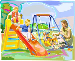 A kid going to the park with their family clipart graphic free download A Colorful Cartoon of a Family Playing At the Park - Royalty Free ... graphic free download