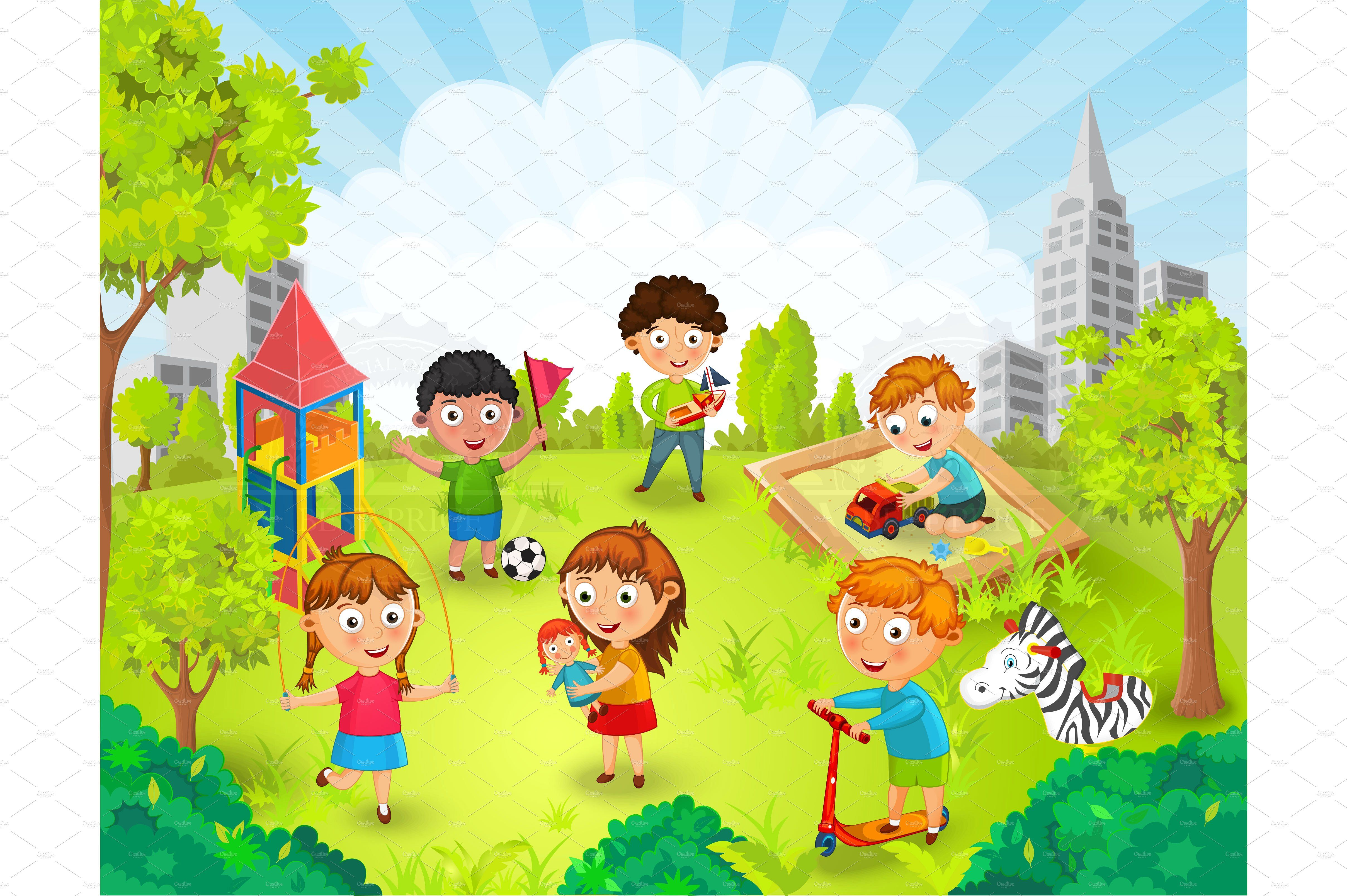 A kid going to the park with their family clipart library Children playing in the park vector #vector#illustration#park ... library