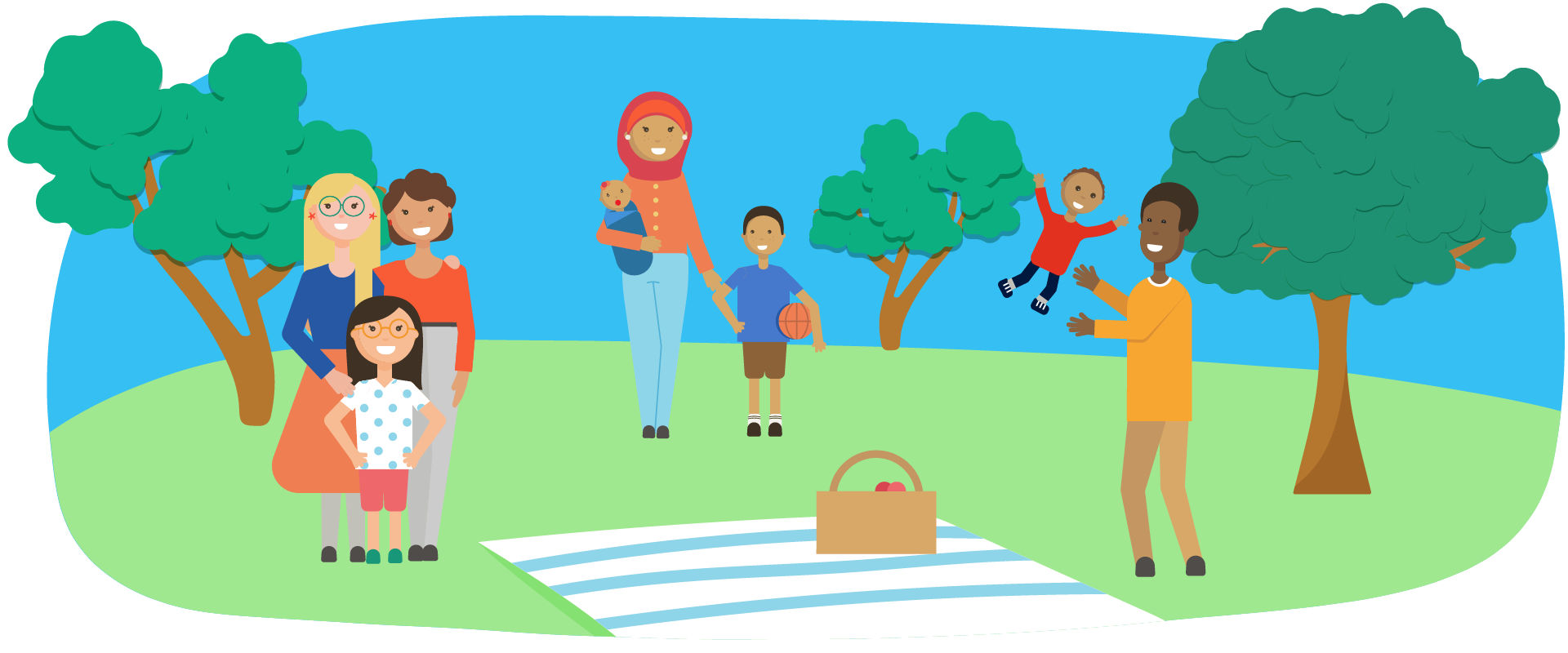 A kid going to the park with their family clipart vector black and white library Learn the 5 Strengths - Five for Families vector black and white library