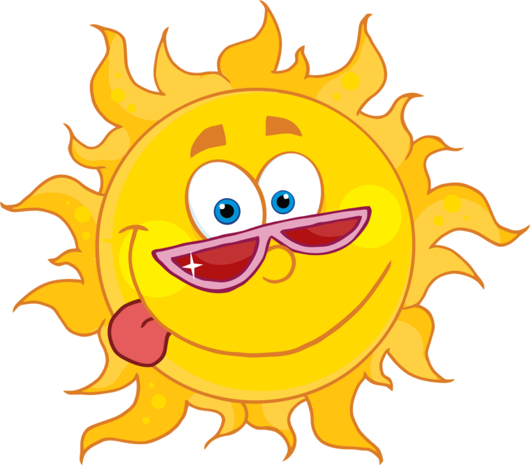 Sun holding a sign clipart