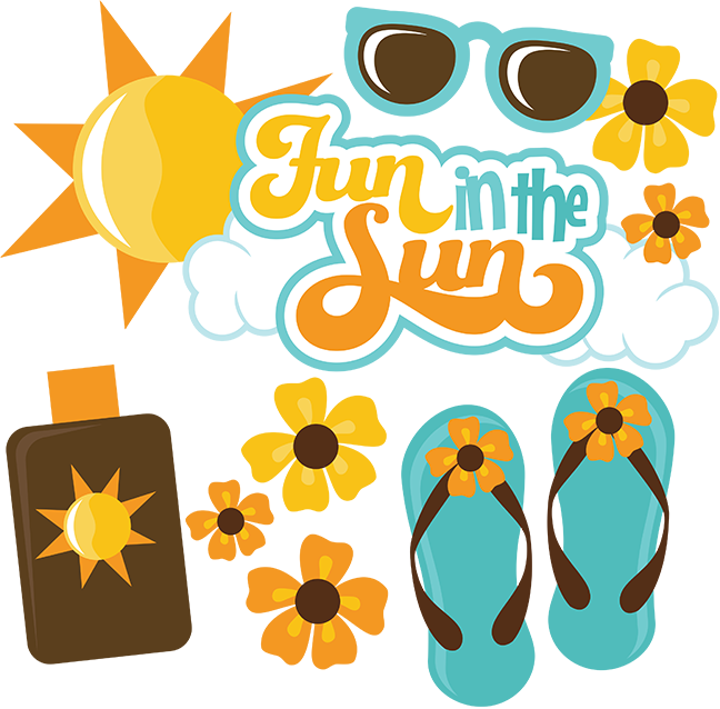A kid having fun in the sun clipart banner black and white Fun In The Sun - SVG files for scrapbooking | Cuttable Scrapbook SVG ... banner black and white