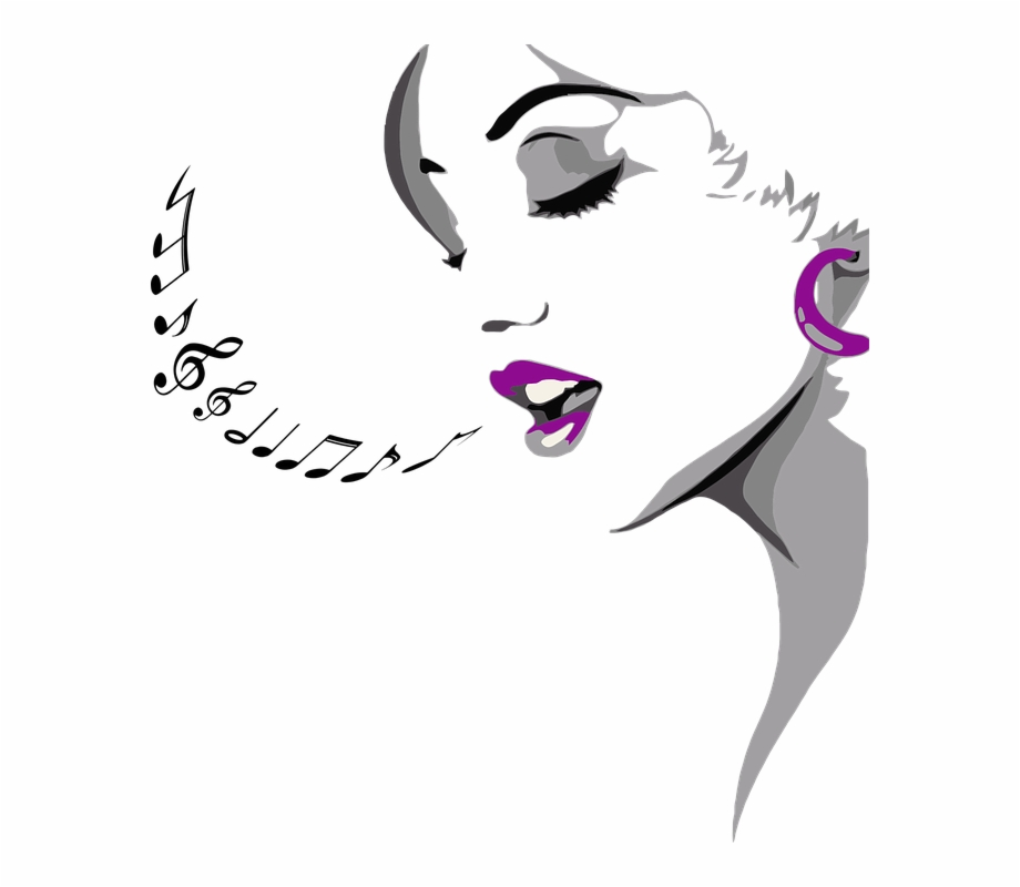 A lady singing clipart clip transparent stock Female Girl Head Musical Notes Singing Woman - Singing Woman Png ... clip transparent stock