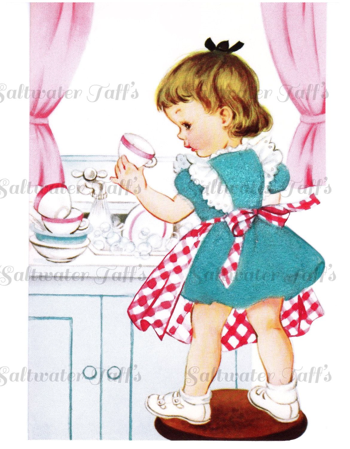 A little girl in the kitchen with her mom clipart