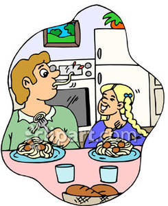 A little girl in the kitchen with her mom clipart jpg black and white Little Girl and Her Older Brother Eating Spaghetti In the Kitchen ... jpg black and white
