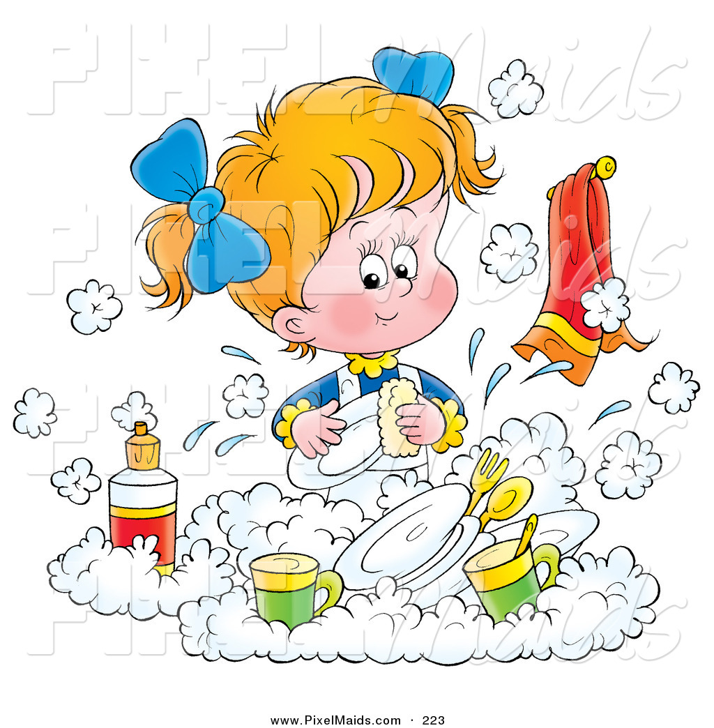 A little girl in the kitchen with her mom clipart clip art black and white library Clipart of a Little Blond White Girl Happily Washing Dishes in a ... clip art black and white library