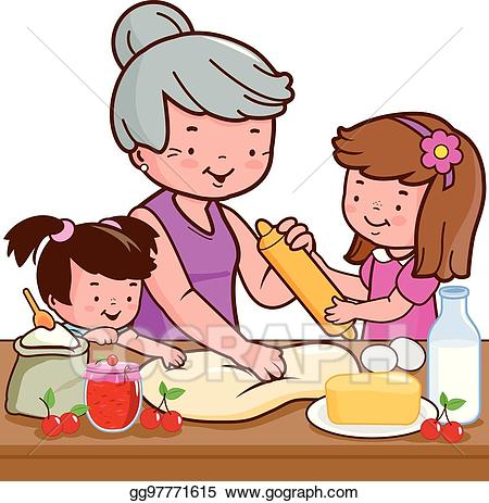 A little girl in the kitchen with her mom clipart clip art free library Clip Art Vector - Grandmother and children cooking in the kitchen ... clip art free library