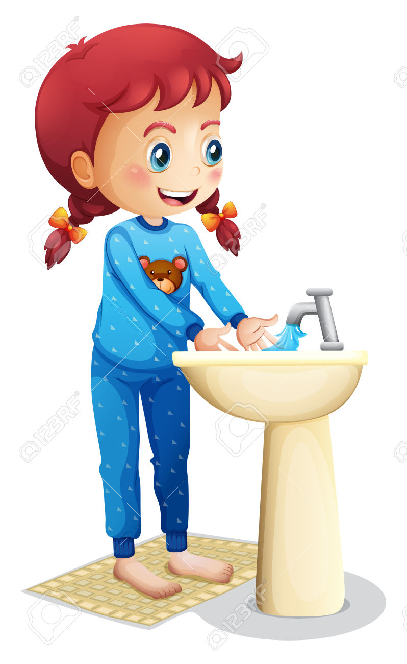 A little girl washing her hands for dinner clipart svg A little girl washing her hands for dinner clipart, Free Download ... svg
