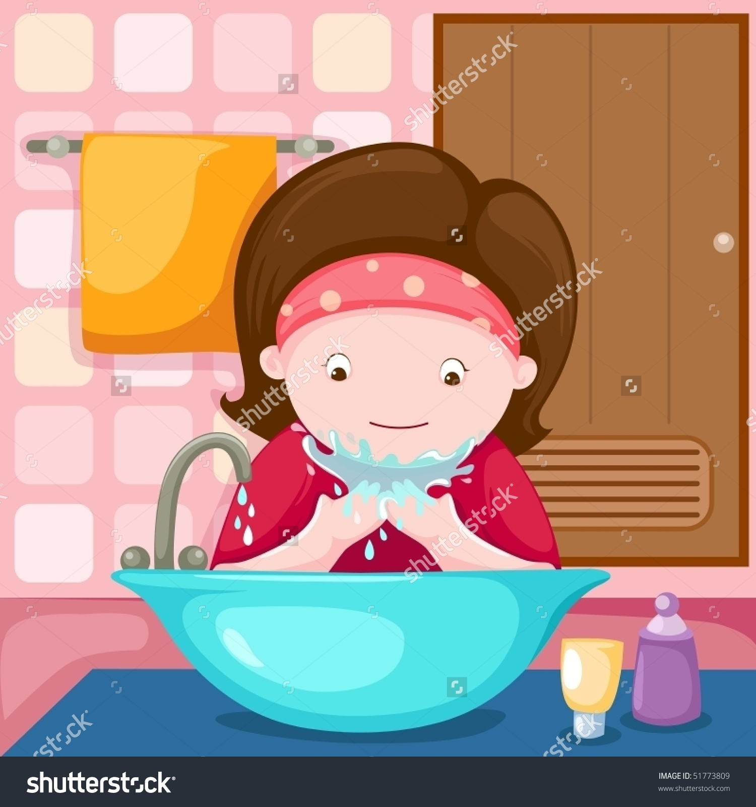 A little girl washing her hands for dinner clipart clip free library A little girl washing her hands for dinner clipart, Free Download ... clip free library
