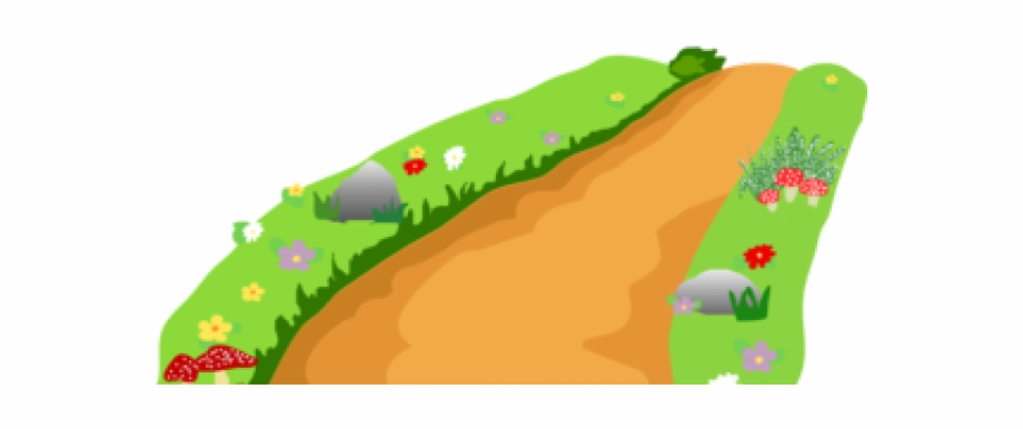 Dirt path cartoon clipart with transparent background