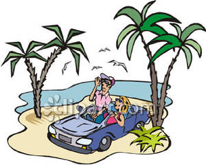A man and a woman in a car clipart jpg black and white download and Woman In a Blue Car on a Desert Island Royalty Free Clipart ... jpg black and white download