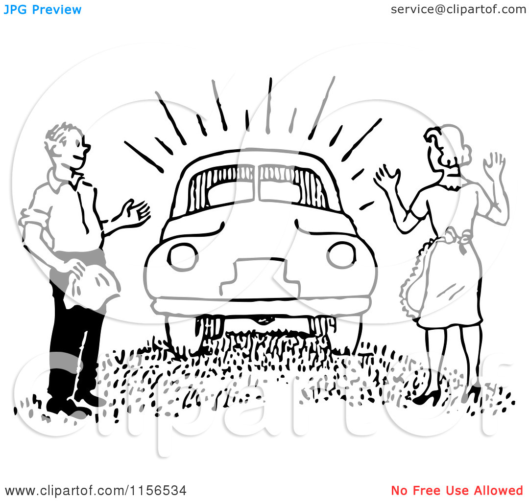 A man and a woman in a car clipart clip library stock Clipart of a Black and White Retro Man Surprising a Woman with a ... clip library stock