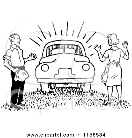 A man and a woman in a car clipart jpg black and white stock Clipart of a Black and White Retro Man Waxing a Car - Royalty Free ... jpg black and white stock