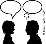 A man and a woman talking clipart. Stock illustrations clip art
