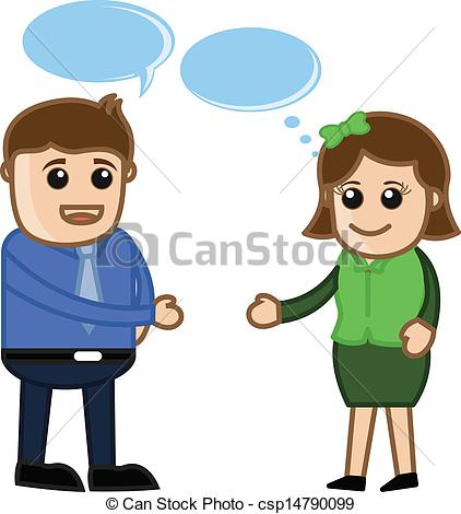 A man and a woman talking clipart. Eps vectors of vector