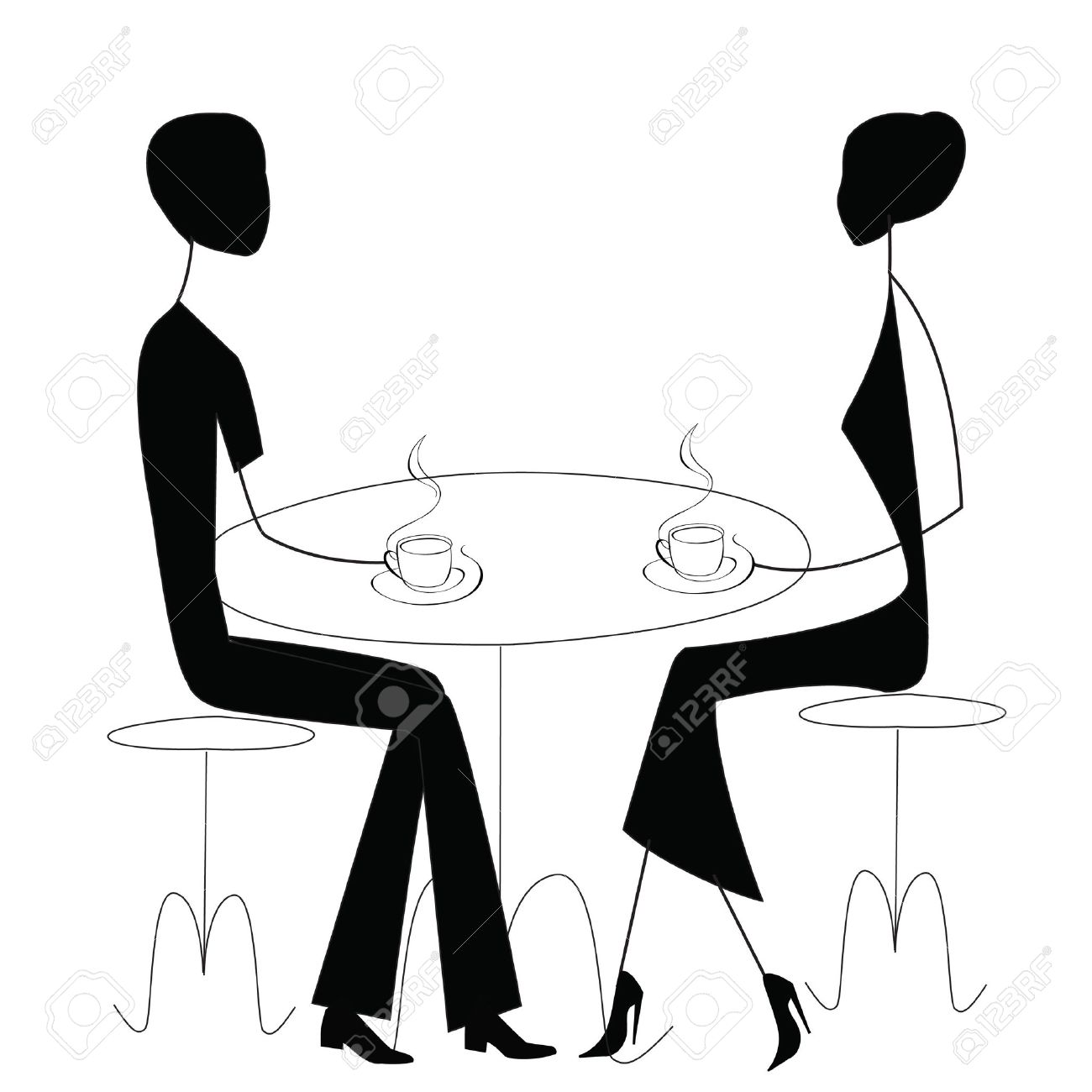 A man and a woman talking clipart. Black white clipartfest two